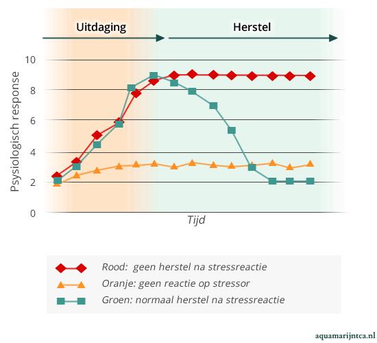 Een grafiek van stressresonse, met drie profielen